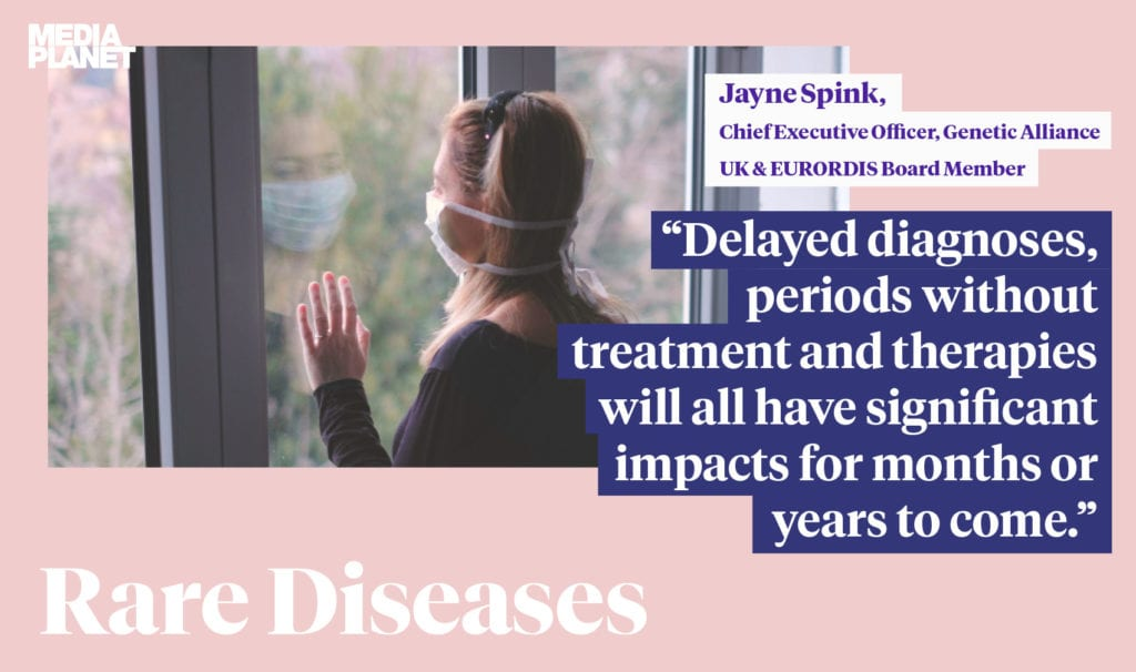The image shows a person. There is a quote alongside it that says 'delayed diagnoses, periods without treatment and therapies will all have a significant impacts for months or years to come.'