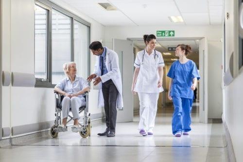 NHS Corridor with nurse & doctor